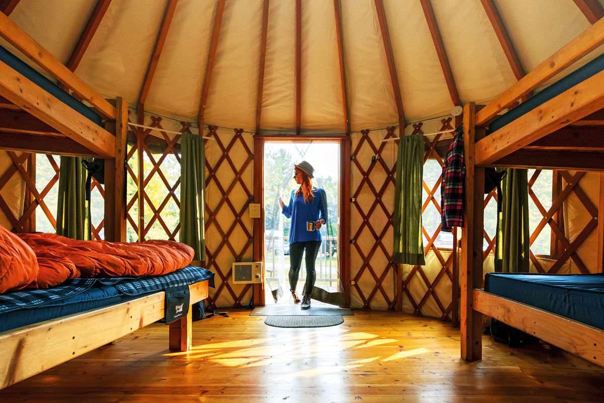 Yurt Interior, Tranquil Timbers | Door County, WI