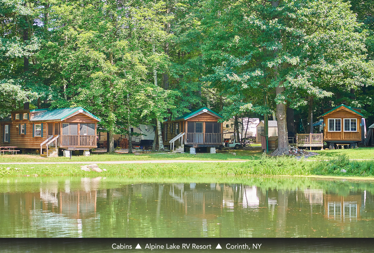 Cabins at Alpine Lake RV Resort, Corinth, NY
