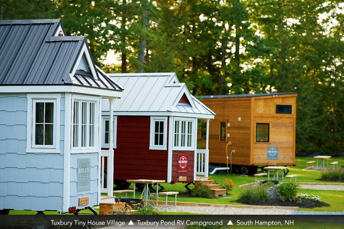 Tuxbury Tiny House Village, Tuxbury Pond RV Campground, South Hampton, NH