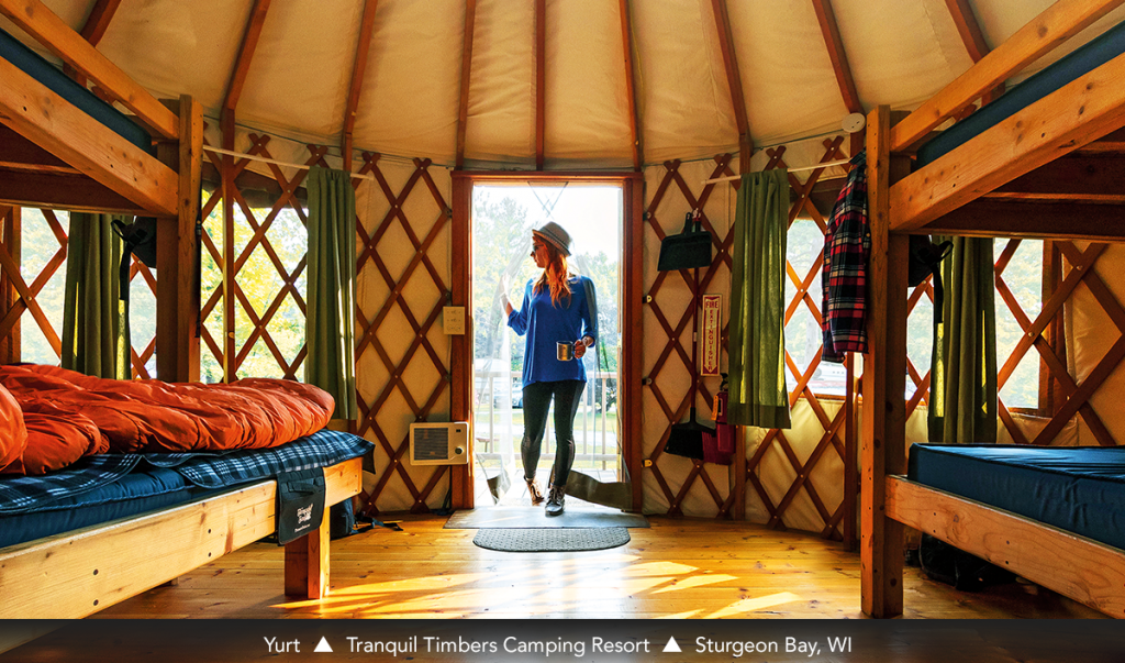 Yurt • Tranquil Timbers Camping Resort • Sturgeon Bay, WI