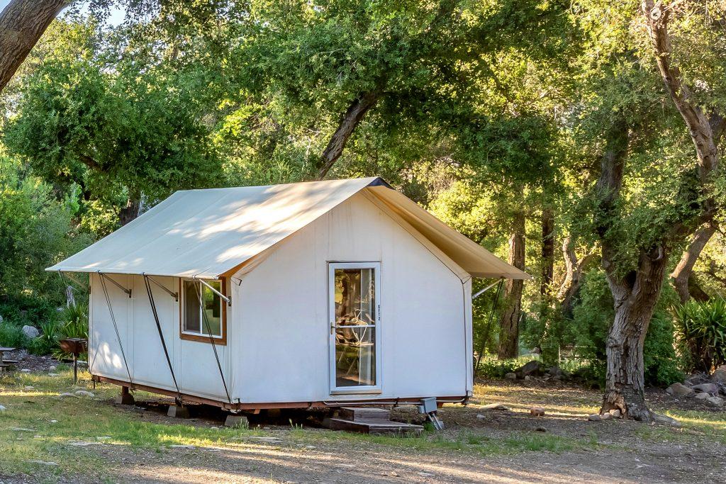 A safari tent at Rancho Oso, near Santa Barbara.